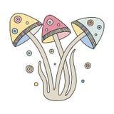 Vector kleurrijke hand getrokken illustratie van paddestoelen Decoratief artistiek kinderlijk beeld, lijntekening Beeld voor het  royalty-vrije illustratie