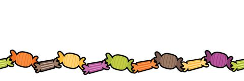 Vector Kleurrijke Harde Halloween-Suikergoed Naadloze Grens stock illustratie