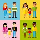 Vector kleurrijke illustratie van Afrikaanse Amerikaanse, Aziatische, Arabische, Europese familie Royalty-vrije Stock Afbeeldingen