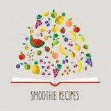 Vector kleurrijke illustratie van het kookboek van het smoothierecept in vlakte vector illustratie