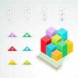 Vector kleurrijke infographic voor bedrijfspresentaties Kan voor rapport, presentatie, banner, websiteboekje of brochure worden g Stock Fotografie