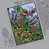 Vector kleurrijke kaart Achtergrond met ornament Stock Afbeeldingen