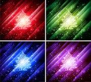 Vector kleurrijke Kerstmisachtergronden Stock Foto's
