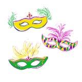 Vector kleurrijke krabbelmaskers Stock Afbeeldingen