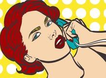 Vector kleurrijke kunst van zeer mooie vrouw met omhoog telefoon, speld, pop-art, uitstekende illustratie in vectorformaat Geïsol Royalty-vrije Stock Afbeeldingen