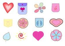 Vector kleurrijke leuke pictogrammenillustratie Stock Foto's
