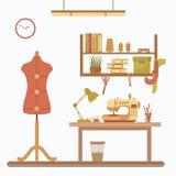 Vector kleurrijke naaimachineillustratie Royalty-vrije Stock Foto