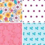 Vector kleurrijke oosterse bloemenreeks van vier Stock Afbeeldingen