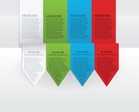 Vector kleurrijke pijletiketten. Document, groene, blauwe en rode versie Stock Fotografie