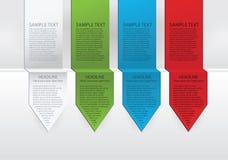 Vector kleurrijke pijletiketten. Groene, blauwe en rode versie de van het document, Royalty-vrije Stock Foto's