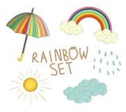 Vector kleurrijke regenboogreeks vector illustratie