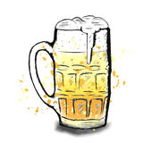 Vector kleurrijke schets van bierkop Stock Foto's
