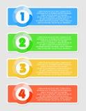 Vector kleurrijke stickers met aantallen Stock Afbeeldingen