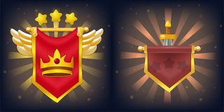 Knight Flags with Victory and Failure For Game. Vector knight flags with victory and failure, crown, stars, wings and sword. Perfect for games or other design Royalty Free Stock Photos
