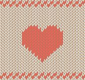 Vector knitted background with heart pattern. Royalty Free Stock Photo