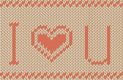 Vector knitted background. I love you pattern Stock Image