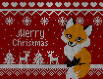 Vector knitted christmas card with fox deer and tree. Red background, christmas wallpaper 2016.  stock illustration