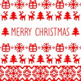 Vector knitted Nativity pattern with Merry Christmas text. Happy Holidays pixel frame. Colorful New Year texture. Stock Image