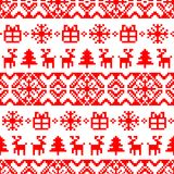 Vector knitted Christmas seamless pattern. New Year pixel endless texture. Nativity background. Royalty Free Stock Image