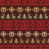Vector knitted Christmas seamless pattern. New Year pixel endless texture. Nativity background. Stock Photos