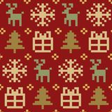 Vector knitted Christmas seamless pattern. New Year pixel endless texture. Nativity background. Stock Photo