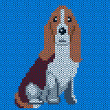 Vector knitted dog pattern Stock Photos