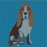 Vector knitted dog pattern. Basset on blue background. Stock Photography