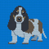 Vector knitted dog pattern. Royalty Free Stock Photo