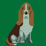 Vector knitted dog pattern. Royalty Free Stock Photos