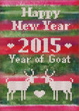Vector knitted New Year's postcard with goats Stock Image