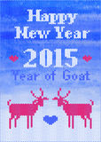 Vector knitted New Year's postcard with goats Royalty Free Stock Images