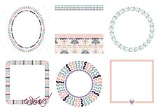 Knitted frames vector illustration