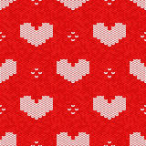 Vector knitted seamless pattern, Valentine's Day style knitting Royalty Free Stock Image