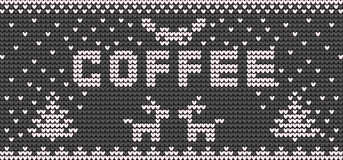 Vector knitting canvas for cup of coffee Royalty Free Stock Photo