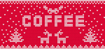 Vector knitting coffe ornament cup Royalty Free Stock Photo