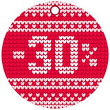 Vector knitting sale red round label Stock Photos