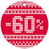 Vector knitting sale red round label Royalty Free Stock Images