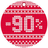 Vector knitting sale red round label Royalty Free Stock Image