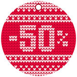 Vector knitting sale red round label Royalty Free Stock Photography
