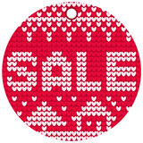 Vector knitting sale red round label Stock Images