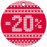 Vector knitting sale red round label Stock Image