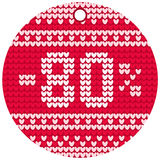 Vector knitting sale round label Royalty Free Stock Image