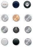 Vector knobs set. Set of the detailed control knobs in different colors Royalty Free Stock Images