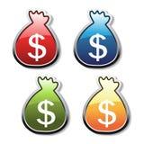 Vector knopen van geldsymbool Stock Foto's