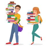 Vector Knowledge education illustration with guy and girl students carrying large stack of books. Man and woman student vector illustration