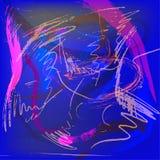 Vector koel helder veelkleurig abstract ontwerp als achtergrond met kwaststreken en plonsen in blauwe, purpere en violette kleure royalty-vrije stock fotografie
