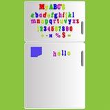 Vector Koelkast met de spelling ABC le van het magneetalfabet Stock Afbeelding
