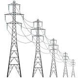 Vector koeltoren van krachtcentrale Concrete thermische elektrische centraletoren Royalty-vrije Stock Fotografie
