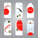 Vector of koi japanese style label tags Stock Photo