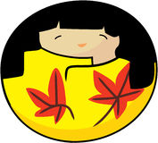 Vector kokeshi autumn girl Royalty Free Stock Image